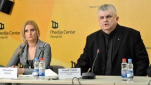 Aleksandra Jerkov i Nenad Čanak u Medija centru