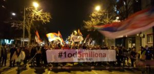 Novosađani na protestu u Novom Sadu 1. februara 2019.