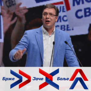 Aleksandar Vučić za govornicom pred svojim pristalicama